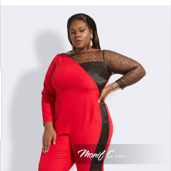 45a870822f4 Red and black Monif C plus size romper jumpsuit